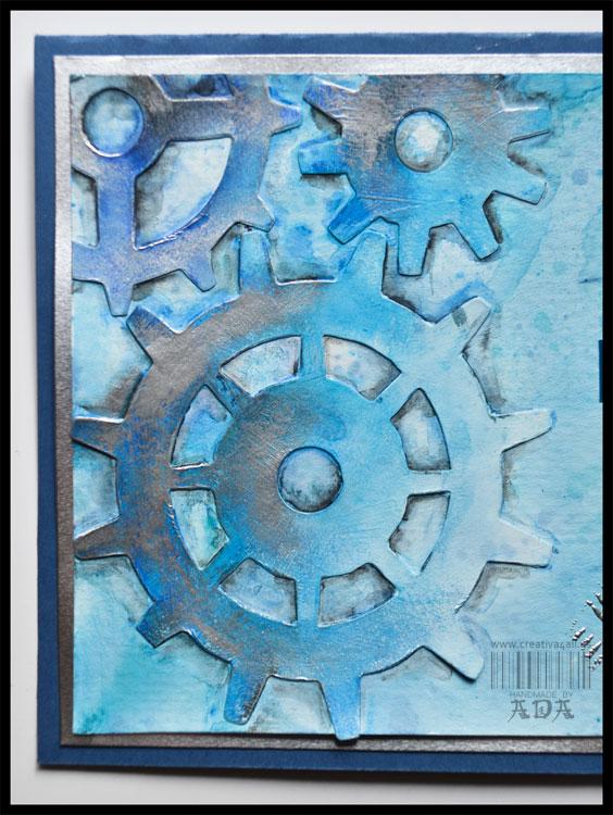 MIXED MEDIA: METALIC GEARS CARD